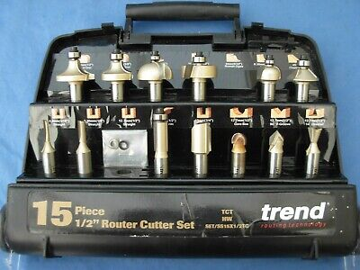 Trend 15 Piece 1/2  Router Cutter Set/ S S 15 X 1/2 T C With 2 Missing Used • 55£