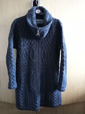 Aran Crafts Ireland Cable Knit Two-Way Zip Roll Neck Coatigan M Size - Charcoal  • 60£