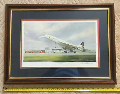 Framed & Glazed Colour Print 'Concorde At Farnborough' By Terry Harrison Signed • 35£