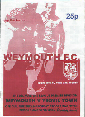 Weymouth F.c. V  Yeovil Town (psf) 27/7/99 - Nice Item - Very Rare! • 1£