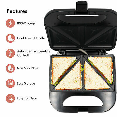 Yamisii Deep Fill Toastie Maker 900W- Fit LARGE Bread - 2 Slice Sandwich Toaster • 16.88£