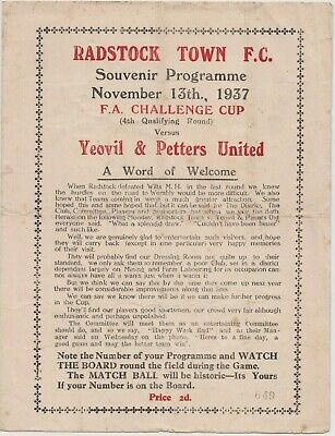 Rare Pre-ww2 Football Programme Radstock Town Yeovil Petters United Fa Cup 1937 • 10£