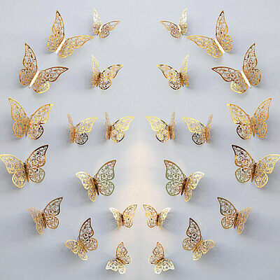 AU6.99 • Buy 24Pcs 3D DIY Wall Decal Stickers Butterfly Home Room Art Decor Decorations AU