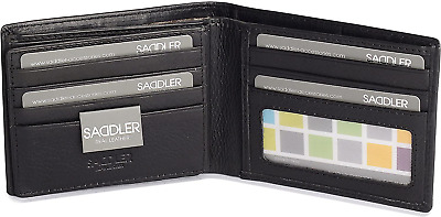 SADDLER Mens Genuine Leather 11 Credit Card Tab Wallet Billfold With Large ID | • 25.05£