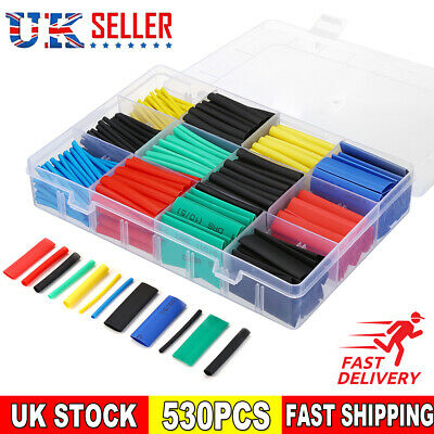 530Pc Heat Shrink Tubing Tube Sleeve Kit Car Electrical Assorted Cable Wire Wrap • 6.59£