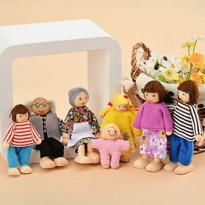 £8.59 • Buy 7 People Family Dolls Playset Wooden Figures For Children House Pretend Gift UK