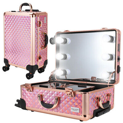 Pro Makeup Carry Trolley Artist Cosmetic Make Up Case Full Screen Lighted Mirror • 129.97£