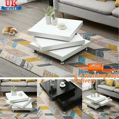 360° Rotating Coffee Table High Gloss Square Layers Modern Living Room Furniture • 153.59£