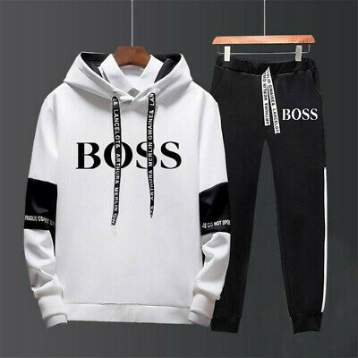 Men's Set Fashion Hoodie Pants Tracksuit Sportswear Hooded Track Suits Sweatsuit • 21.89£