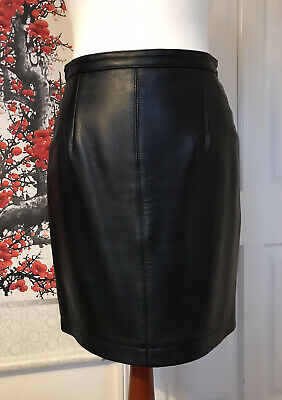 Vintage 90s Black Leather Straight Mini Pencil Skirt Caroline Charles 28 Waist • 1.95£