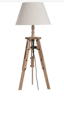 Tripod Table Lamp -   Chic Wooden Base And Linen Shade • 14.99£