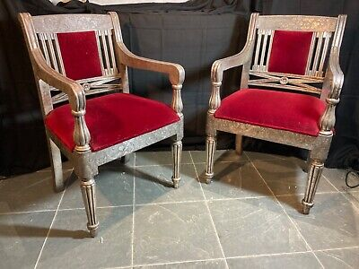 £320 • Buy Pair Of 20th Century Anglo Indian Silver White Metal Clad Wedding Dowri Chairs