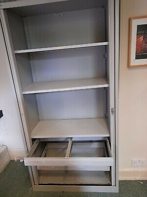 Metal Tambour Cupboard 2 Filing Drawers And 3 Shelves, Very Durable And Secure,  • 99£
