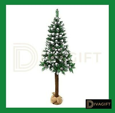 Luxury Christmas Tree Xmas 5FT 6FT 7FT 8FT Wooden Trunk Home Decor Trees • 39.99£