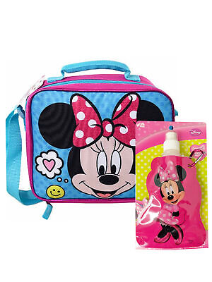 Minnie Mouse Insulated Lunch Bag Strap & Reusable 14oz Drink Pouch BPA Free Set • 12.75£