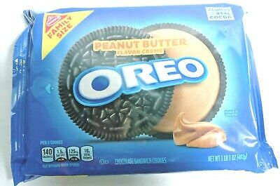 NEW NABISCO FAMILY SIZE OREO PEANUT BUTTER CREME SANDWICH COOKIES 17OZ 482g PACK • 10.04£