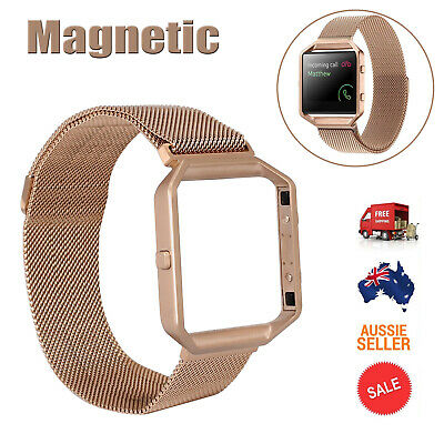 AU20.85 • Buy Milanese Magnetic Stainless Steel Wrist Band Strap +Metal Frame For Fitbit Blaze