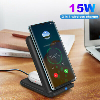 AU21.99 • Buy 2 In1 Qi Wireless Charger Fast Charging Dock Stand For Airpods 2 Apple IPhone