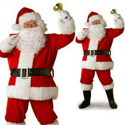 Mens Santa Claus Full Costume Festive Father Christmas Xmas Fancy Dress Outfit • 18.59£