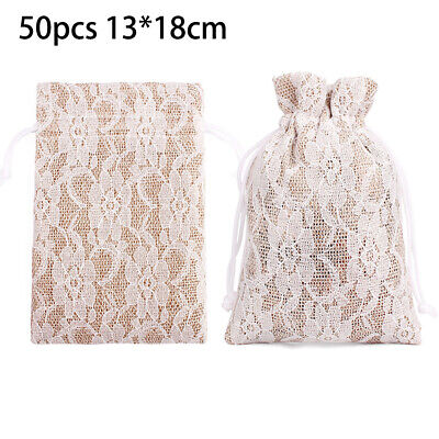50 Small Burlap Lace Sack Hessian Wedding Favour Jewellery Pack Xmas Gift Bags • 23.36£