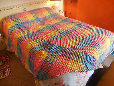 A Derw Pure Wool Vintage Waffle Blanket Rainbow Colours ORIGINAL MINT CONDITION • 125£