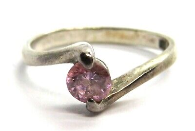 Ladies Sterling Silver & Pink CZ Stone Ring - UK Size M • 8.95£