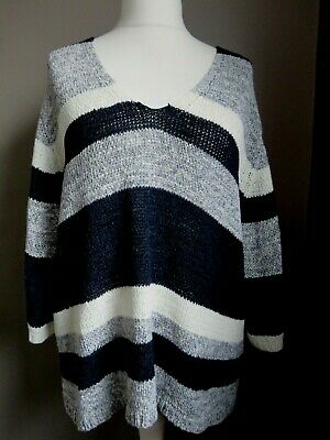 MONSOON Loose Knit Grey Navy & White Striped Jumper  Large   50  Chest • 5£