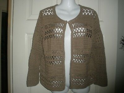 £10.18 • Buy #313 Misses Sweater 1 M Taupe Khaki Cable Crochet Shrug Chico's Heavy LS