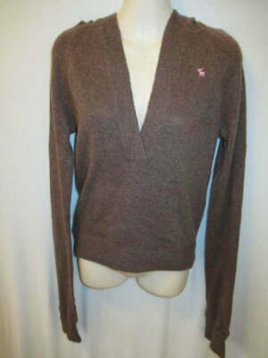 $22.95 • Buy Abercrombie & Fitch 100% Cashmere Brown Hooded Sweater Pouch Pocket M May Fit S