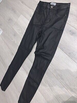 Ladies New Look Super Skinny Black Leather Look Trousers Jeans Size 12 • 12£