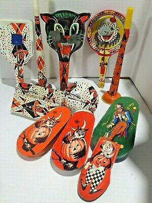 $ CDN51.90 • Buy 12 Vintage US Metal Toy Co Halloween Noisemakers Witch Owl Black Cat Clown Scare