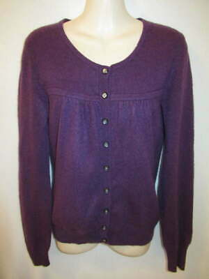 $14.95 • Buy Apt 9 100% Cashmere Purple Round Neck Cardigan S May Fit XS