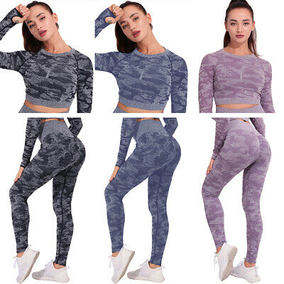 Camo Yoga Suit Leggings Pants Gym Crop Top Long Sleeve For Women Autumn Winter • 10.14£