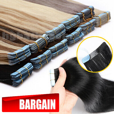 100G Tape In Full Head 8A Russian Remy Human Hair Extensions Glue Skin Weft H836 • 14.75£