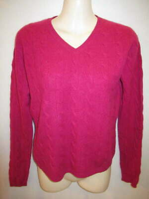 $14.95 • Buy Christopher Fischer 100% Cashmere Pink Cable Knit V-Neck Sweater M May Fit S