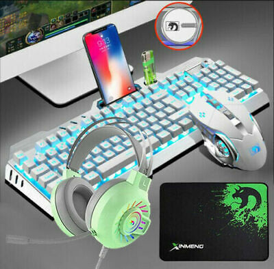 AU65.99 • Buy AU Gaming Mechanical Keyboard And Mouse And Headset Combo RGB Backlit Xmas Gifts