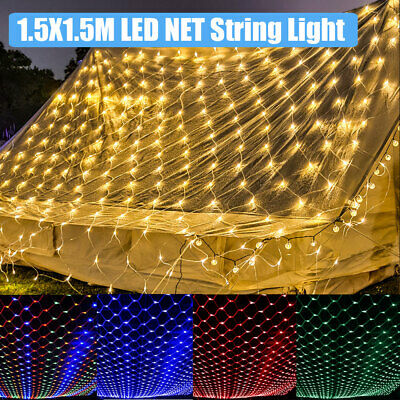 Outdoor LED String Fairy Net Mesh Lights Waterproof Christmas Tree Garden Decor • 8.19£