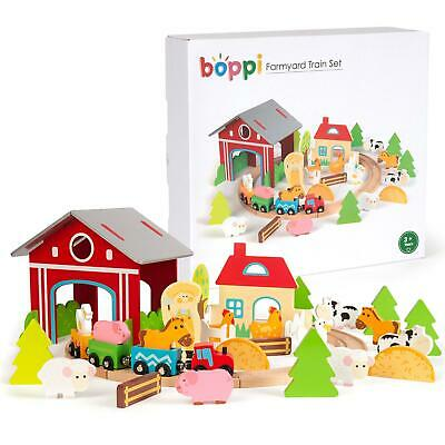 Boppi 45pcs Farm Forest Wooden Kids Toy Train Set With Animals Trees Station New • 18.99£