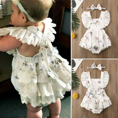 Newborn Baby Girl My First Christmas Deer Ruffle Lace Romper Jumpsuit Clothes • 7.49£