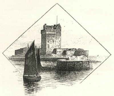 SCOTLAND. Broughty Ferry Castle 1901 Old Antique Vintage Print Picture • 14.99£
