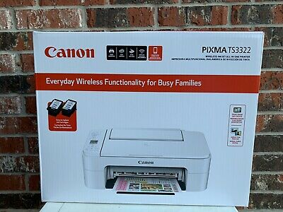 View Details NEW!! White Canon - PIXMA TS3322 Wireless All-In-One Printer White INK INCLUDED! • 65.99$
