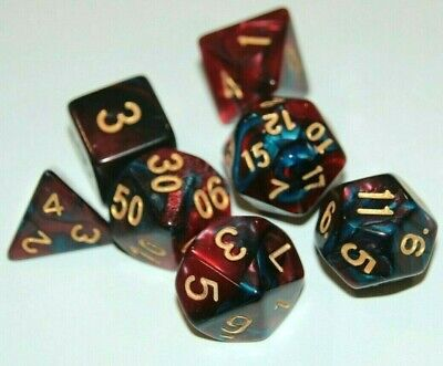 AU10.97 • Buy Dice 7 Pce Set Red & Blue Pearl Polyhedral D & D Pathfinder Dungeons & Dragons