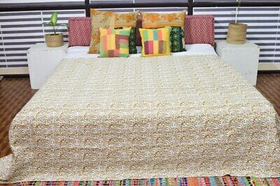 Indian Kantha Quilt Bedspread Bedding Throw Cotton Blanket Floral Print Handmade • 35.55£