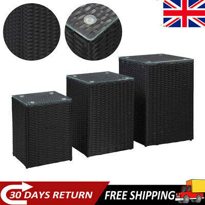 Nest Of 3 Tables Coffee,Side Table 3 Set Unit With Glass Top Black Poly Rattan • 138.90£