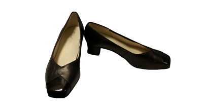 Ladies Brown Leather Equity Shoes Size 6 Court Heels Comfy • 18£