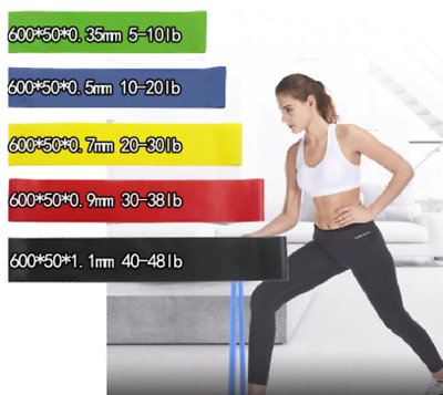 $ CDN6.31 • Buy Exercise Resistance Bands Yoga 5 Different Colours & Weights Choose 5lb-48lb