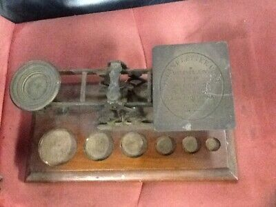 Victorian Mordan & Co Brass & Oak Post Office Scales With No Weights • 45£