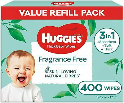 AU16.44 • Buy  HUGGIES Baby Wipes Fragrance Free Baby Wipes, 400 Wipes Refill Pack