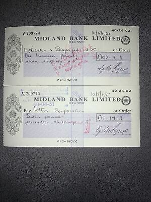 Midland Bank Limited Cheque Issued 1967 Heanor Branch X2 • 2£