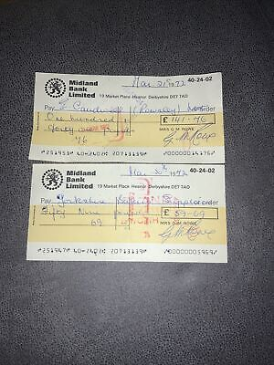 Midland Bank Limited Cheque Issued 1972 Heanor Derbyshire X2 • 2£
